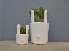 macetas de cermica conejos verde cactus ceramic pots rabits verde cactus