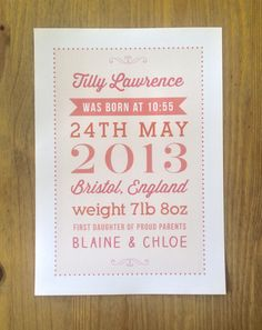 A personalised typography birth announcement print I designed for baby Tilly #typography #print #birthprint