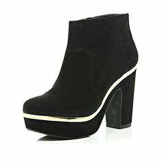 Black Suede Ankle Boots & Gold Tone Trim