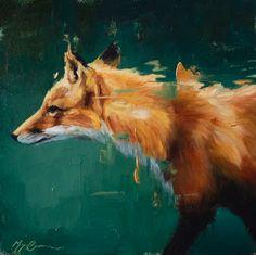 """Fox on Emerald"" 5x5"" oil on panel | Morgan Cameron Art. www.morgancameronart.com"