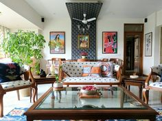 My Parents' Living Room Reveal - Indian living rooms - internationally inspired India Home Decor, Ethnic Home Decor, Elegant Home Decor, Indian Living Rooms, Colourful Living Room, Apartment Therapy, Living Room Designs, Living Room Decor, Drawing Room Interior