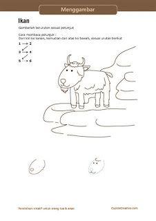 lembar aktivitas langkah/petunjuk menggambar kambing untuk anak SD
