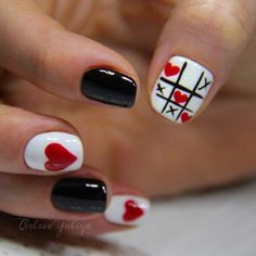 Black red white nails, Celebratory nails, Cheerful nails, Love nails, Nails for date, Nails ideas 2016, Nails with hearts, Romantic nails