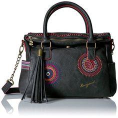 DESIGUAL, Damen Handtaschen, Henkeltaschen, Umhängetaschen, Schwarz, 25,5 x 24,5 x 9,5 cm (B x H x T)
