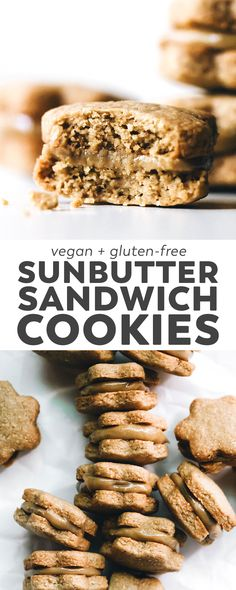 SunButter Sandwich Cookies (vegan/gf) Nut-free and BETTER than nutter butters! Crispy SunButter oat cookies sandwiched with a cream filling. Vegan, gluten-free, only 5 ingredients! Gluten Free Cookie Recipes, Gluten Free Cookies, Vegan Gluten Free, Vegan Recipes, Paleo, Healthy Desserts, Dessert Recipes, Feasting On Fruit, Crispy Cookies