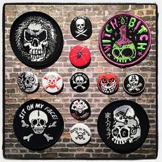 Skulls! In all formats! Patches, buttons & our enamel pin dead center! Not pictured: the t-shirt! #skulls #blitzkriegbuttons #patches #metalskull #witchbitch #weirdoclub #sitonmyface #enamelpins #porkshop #goblinkomegamall | Flickr - Photo Sharing!