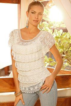 Cap-sleeve crochet salsa sweater #semiannualsale #bestofbostonproper