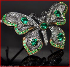 6.77ct ROSE CUT DIAMOND & EMERALD VINTAGE STYLE WEDDING BUTTERFLY BROOCH