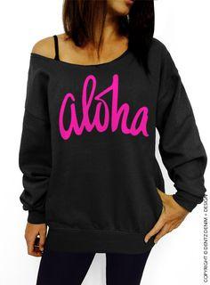 "Use coupon code ""pinterest"" Aloha - Black with Pink Slouchy Oversized Sweatshirt by DentzDenim"