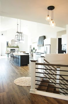 Custom Built Modern Farmhouse Home Tour with Household No 6 Great room open kitchen with island, range hood and fireplace Farmhouse Stairs, Farmhouse Fireplace, Fireplace Modern, Home Design, Home Renovation, Home Remodeling, Staircase Design, Open Staircase, Railing Design
