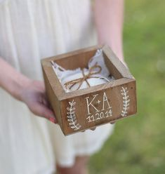 Personalized Ring Bearer Pillow Box Country Barn Wedding Decor NEW 2014 Design by Morgann Hill Designs on Etsy, $29.99