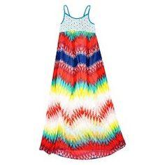 Girls' Chevron Print Maxi Dress - Multicolored L