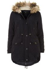 Navy faux fur trim parka this is so nice<3
