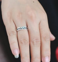 Hand Stamped Name Ring Hand Stamp Ring Personalized by Bestyle, $37.00