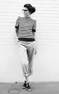 Stripes stripes! I love stripes...and disheveled hair...and loose rolled-up pants...