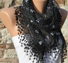 Black  Shawl Scarf  Headband Necklace Cowl by fatwoman on Etsy, $19.00