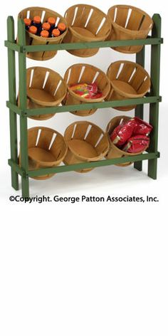 "$107.25 wood basket display, 38-1/2"" wide x 44"" high x 11-1/4"" deep"
