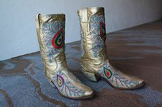 Nudie's Rodeo Tailors Gold Leather Embroidered Rhinestone Boots NUDIE SUIT.