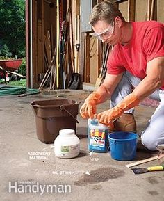 1000 images about garage improvements an tips on for Removing oil stains from concrete garage floor