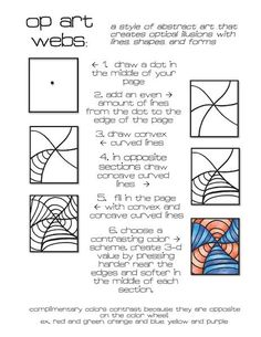 Op art, also known as optical art, is a style of visual art that uses optical illusions. Op art works are abstract, with many better-known pieces created in black and white. Art Sub Lessons, Drawing Lessons, Art Sub Plans, Art Lesson Plans, Middle School Art, Art School, Documents D'art, Opt Art, Classe D'art