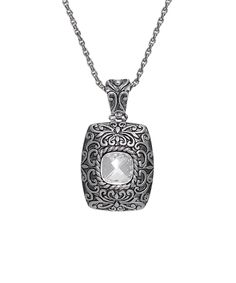 Silver & Clear Crystal Florentine Pendant Necklace Made With SWAROVSKI ELEMENTS | zulily