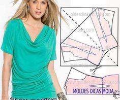 http://moldesdicasmoda.com/molde-blusa-drapeado-74/ #moldes #moda #fashionstyle…