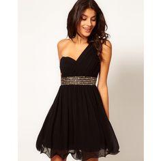 Little Mistress Embellished Waist One Shoulder Dress - Polyvore