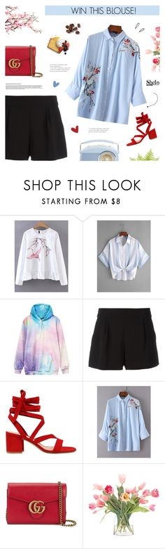 """""""Win This Flower Embroidered Blouse!"""" by paradiselemonade ❤ liked on Polyvore featuring WithChic, Boutique Moschino, Gianvito Rossi, Gucci, NDI and Old Navy"""