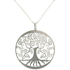 CGC Sterling Silver Laser-cut Tree of Life Charm Necklace - Overstock.com