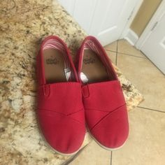 Red slip on shoes Worn once great condition Shoes