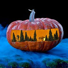 37 fun Halloween decorating ideas - Whip up a happy holiday with pumpkin carving ideas, spooky plants, and tricks the neighborhood will love - Spooky diorama - Pumpkin Carving Ideas - Sunset