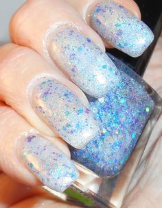 Crystal Blue holographic glitter bomb blue and by PromisePolish