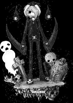 demiseman ♥ Horror Cartoon, Horror Art, Emo Cartoons, Arte Emo, Emo Pictures, The Night Is Young, Scary Drawings, Emo Art, Emo Scene