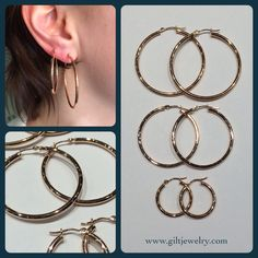 Stacked modern, recycled 14k rose gold hoops is our answer to winter layering. 20mm $165. 34mm $225. 40mm $250. Call to purchase. #gilt #rosegold #giltjewelry #pdxfashion #giltgirl #winterlayers #shoppdx #jewelry #goldhoops