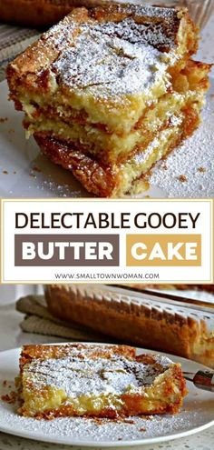 Easy Gooey Butter Cake made with 7 easy ingredients in 2 simple steps! 13 Desserts, Delicious Desserts, Yummy Food, Gooey Cake, Gooey Butter Cake, Cake Mix Recipes, Dessert Recipes, Family Reunions, Family Reunion Recipes