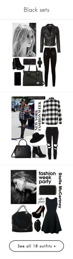 """Black sets"" by sophie01234 ❤ liked on Polyvore featuring Michael Kors, MICHAEL Michael Kors, IRO, Newgate, Paige Denim, New Look, Neil Barrett, Off-White, River Island and Kate Spade"