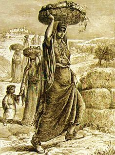 Ramallah-رام الله: Village women from the environs of Jerusalem-Ramallah walking to market with woven baskets of agricultural produce, 18...