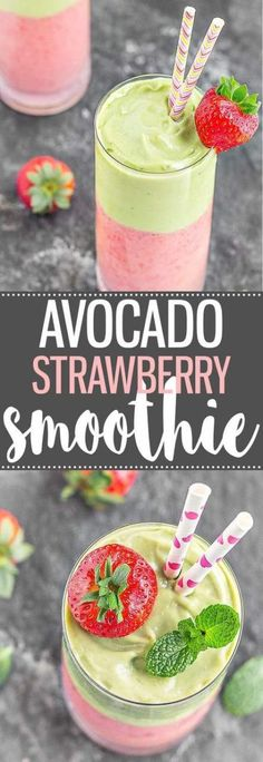 A creamy, refreshing, and delicious Avocado Strawberry Layered Smoothie. Great for breakfast, as a pre-workout snack, or even as a dessert! via as easy as Apple Pie recipes salad smoothie toast farci noyau recette salade Avocado Dessert, Avocado Drink, Avocado Salad, Avocado Shake, Avocado Juice, Yummy Smoothies, Smoothie Drinks, Detox Drinks, Detox Juices