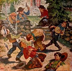 kids-playing-cowboy.jpg 600×589 pixels. My brothers and I chased each other around the house playing cowboys and indians with cap guns.  None of us ever killed anyone because of it.