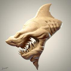 SculptJanuary 17 - Day  01: Shark, Julien Kaspar on ArtStation at https://www.artstation.com/artwork/xokdO
