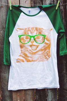 Women's Nerdy Cat Tshirt by PixyPrints on Etsy, $20.00
