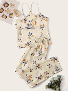 Shop Floral Print Satin Cami Pajama Set at ROMWE, discover more fashion styles online. Plaid Pajamas, Cute Pajamas, Satin Pajamas, Pyjamas, Cute Pajama Sets, Pj Sets, Cute Comfy Outfits, Cool Outfits, Pijama Satin