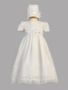 30a749fababe3 Christening 139762  New Baby Girls White Organza 2 Pc Dress Gown  Christening Baptism Bonnet Candice