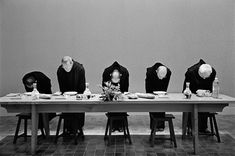 FRANCE. Saint Benoit sur Loire. Abbaye de Fleury. 1997. At meal time, monks bow to the Lord, thanking Him for the food which is about to be partaken.