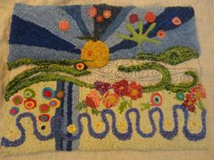 abstract with felting in rug hooking