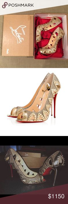 """Christian Louboutin gold studded pumps """"Circus City"""" open toed spiked red sole pumps. Gold. Christian Louboutin Shoes Heels"""