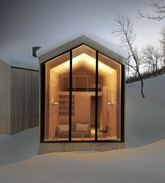 Modern cabin design inspiration: this little cabin isn't a cabin at all, but a small annex, intended to serve as a guest house, at Split View Mountain Lodge, a family vacation house in the mountains of Norway.