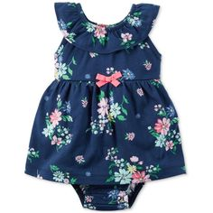 Carter's Cotton Floral-Print Skirted Romper, Baby Girls (0-24 months) (165 MXN) ❤ liked on Polyvore featuring babies and baby girl