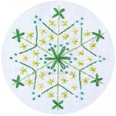Green Snowflake Embroidery Pattern PDF