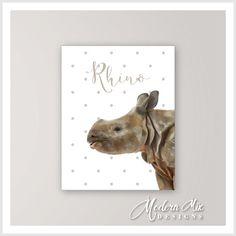Items Similar To Baby Rhino Nursery Art Print Animal Decor Zoo Painting Room Ba On Etsy